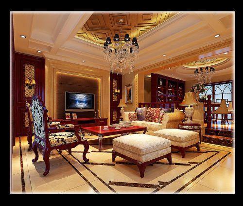 中式美式客厅设计图