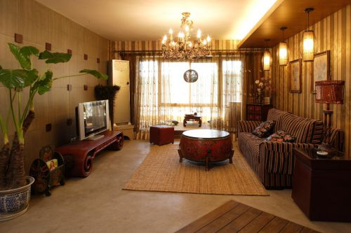 欧式美式复古客厅图片