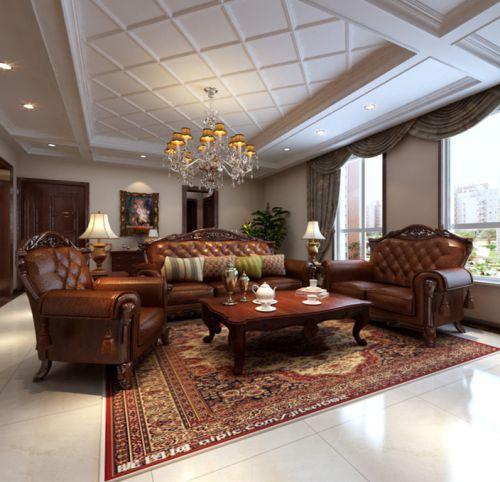 美式客厅吊顶窗帘图片