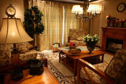 美式客厅窗帘装修案例