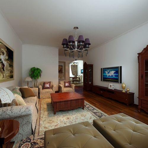 美式客厅电视背景墙装修案例