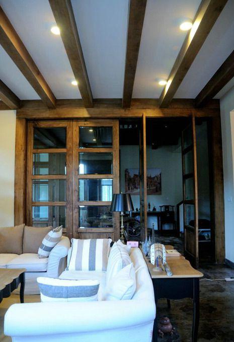 美式客厅别墅吊顶装修效果展示