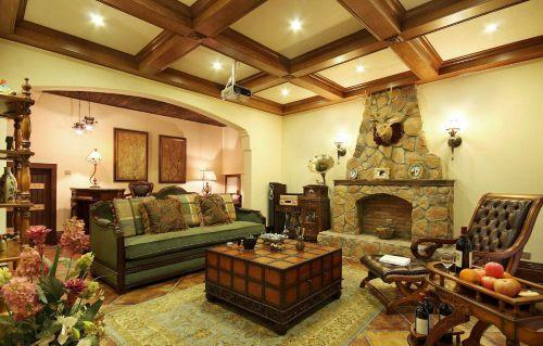 美式客厅别墅吊顶装修图