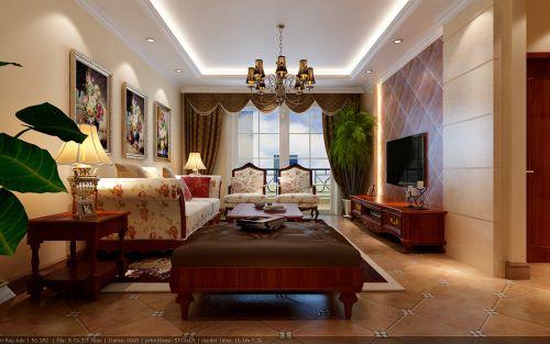 美式客厅吊顶电视背景墙设计方案