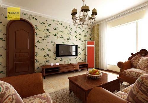 田园客厅吊顶电视背景墙设计案例展示