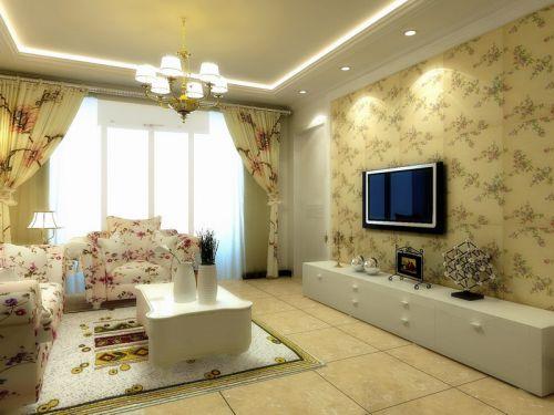 田园客厅吊顶电视背景墙设计方案