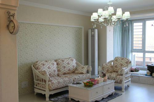田园客厅窗帘榻榻米设计方案