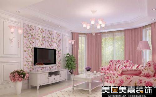 田园乡村风格客厅卧室吊顶窗帘电视背景墙装修案例