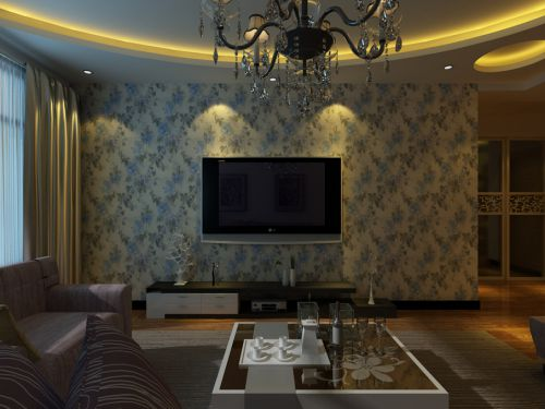 田园田园风格客厅吊顶电视背景墙设计案例