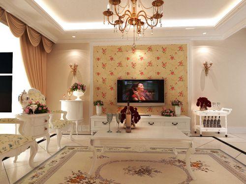 田园田园风格客厅吊顶电视背景墙装修效果展示