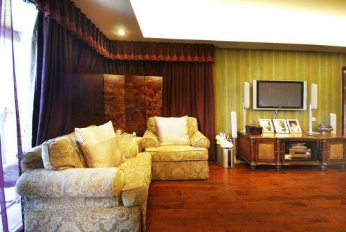 混搭混搭风格客厅窗帘电视背景墙装修效果展示
