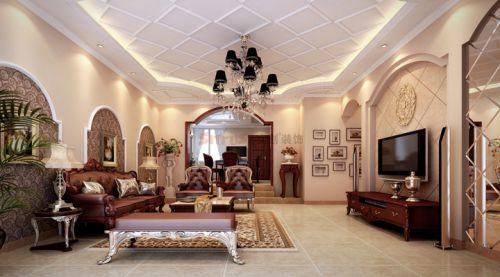 混搭混搭风格客厅吊顶电视背景墙设计方案