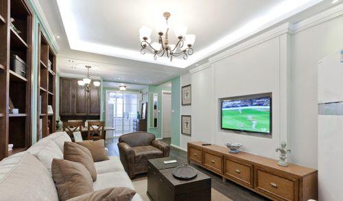 混搭混搭风格客厅吊顶电视背景墙设计图