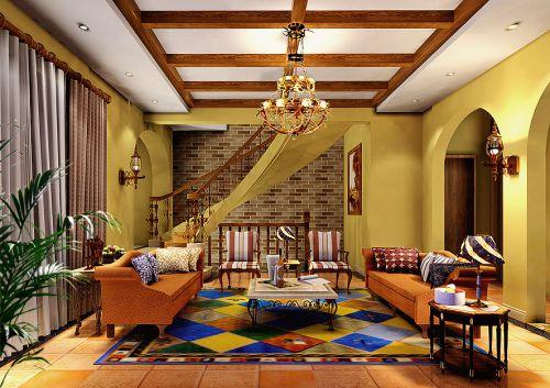 混搭客厅别墅吊顶窗帘设计图