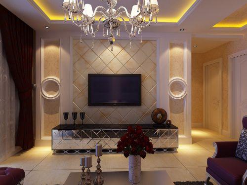 混搭客厅吊顶电视背景墙案例展示