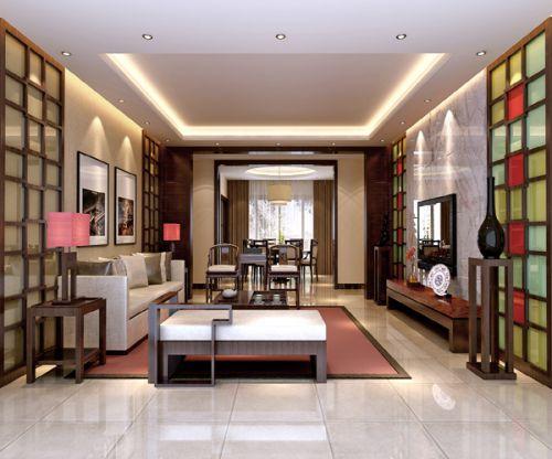 中式混搭现代客厅设计图