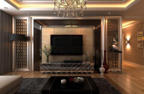 混搭客厅吊顶电视背景墙设计图