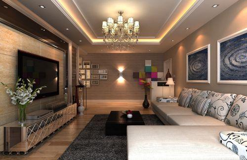 混搭客厅吊顶电视背景墙设计案例