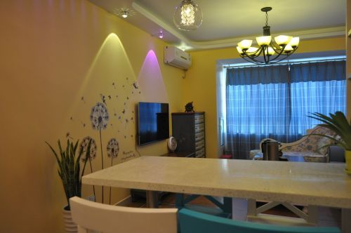 地中海混搭客厅餐厅电视背景墙设计方案