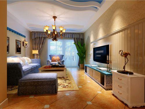 地中海客厅沙发电视柜茶几装修效果展示