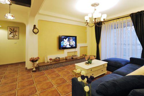 地中海混搭客厅电视背景墙设计案例