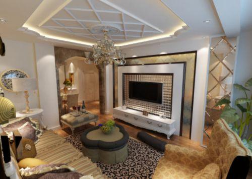 混搭混搭风格客厅吊顶电视背景墙设计案例