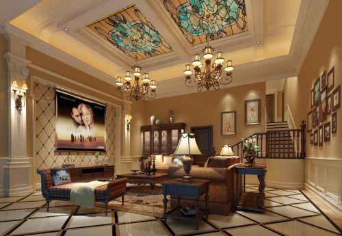 地中海地中海风格客厅别墅吊顶电视背景墙设计方案