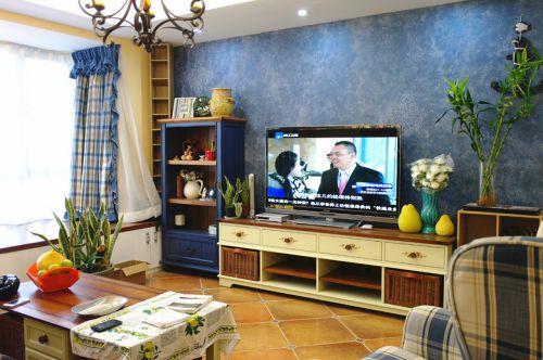 地中海客厅背景墙电视背景墙装修案例
