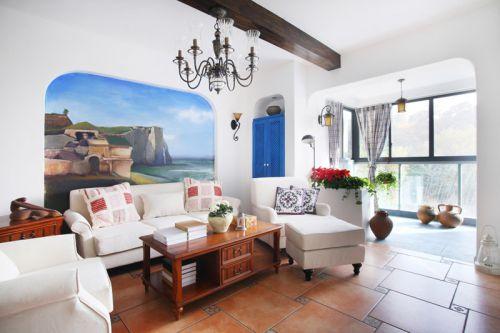 地中海客厅餐厅沙发单人沙发设计方案