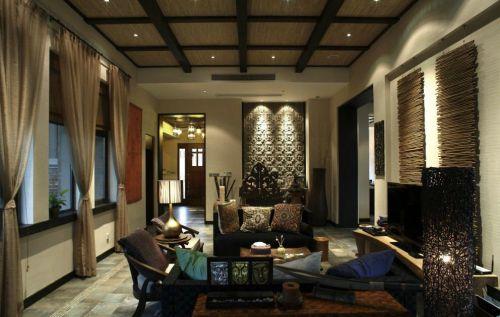 东南亚客厅别墅吊顶窗帘设计方案