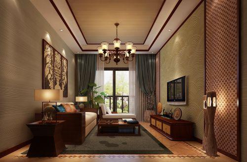 东南亚客厅吊顶窗帘电视背景墙装修图