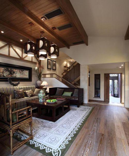 东南亚客厅吊顶楼梯沙发装修图