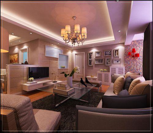 现代简约英伦混搭客厅设计图