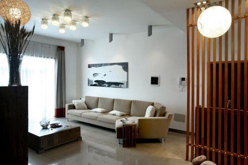现代简约混搭客厅装修图