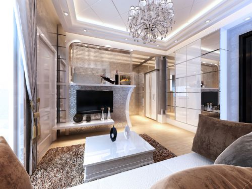 欧式简欧客厅电视背景墙设计方案