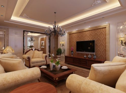 欧式简欧简欧风格客厅吊顶电视背景墙装修案例