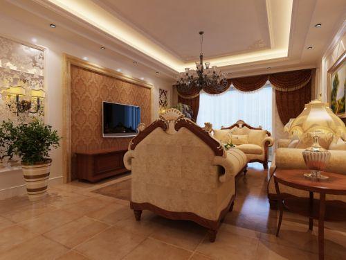 欧式简欧简欧风格客厅吊顶电视背景墙设计案例