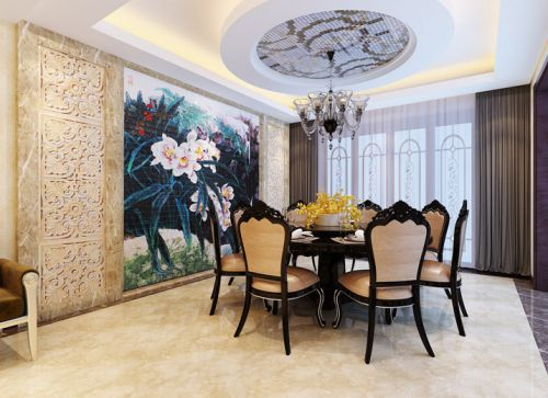 中式中式风格新中式餐厅吊顶装修效果展示