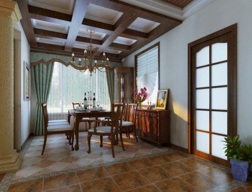 美式餐厅窗帘装修图
