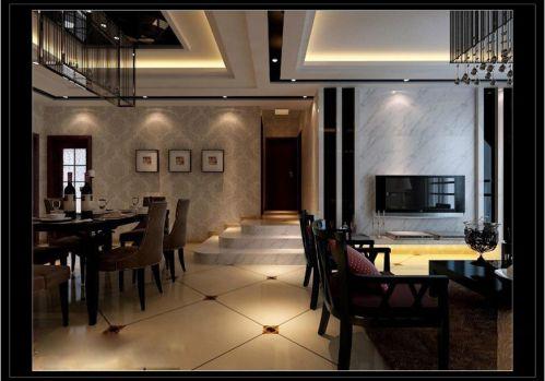 现代简约简欧客厅餐厅走廊设计图