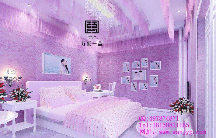 淡紫色卧室装修效果图窗帘