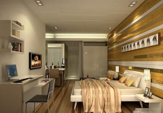 3、单身公寓选择家具应多功能化 单身公寓装修中家具最好是选择小巧的,可随意组合、拆装、收纳和使用,或选占地面积小,比较高的家具,既可以装下大量东西,又不浪费空间。还可以想方设法向纵向发展,如高脚的单人床和带书架的电脑桌。这样一来将床面抬高了,不知不觉中将房间的使用面积增加,利用创造出来的地方,可以放沙发或作为一个小书房:放台电脑或其他东西。另外还可以买张折叠床,白天收起当沙发,晚上放下当床铺。 4、 单身公寓的装修风格应少而精 对于单身公寓,一般来说,单身家居的空间都不大,因此空间的划分利用和家具的选择