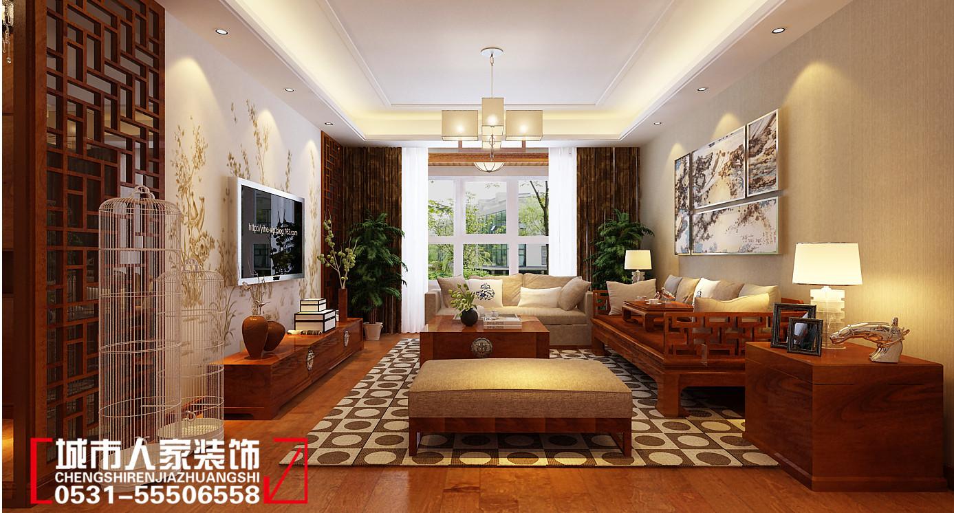 客厅选用了整套胡桃木制家具