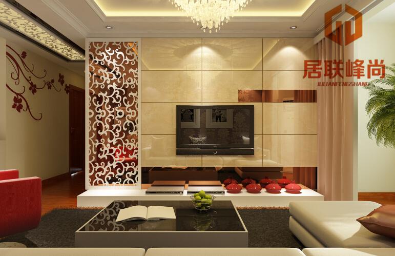 影视墙的瓷砖配加金色镜面雕花