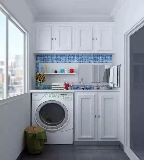 也可将阳台洗衣柜操作区表面覆盖,声音白色墙体及下水管,用海蓝色油漆