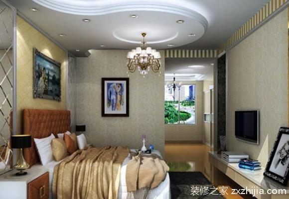 欧式卧室吊顶的高度要根据卧室的高度来进行设计,一般不能装的太高,不然会使整个卧室都显得压抑。就如上面卧室吊顶装修设计图中的展示,欧式风格的卧室吊顶通常采用两到三层的层次设计手法,通过吊顶的层次感来搭配华丽的欧式家具或者造型。且欧式风格的吊顶主体线条和造型设计以简单线条为主,因此吊顶的设计不能太过于复杂化。 三、如何装修出好看的欧式卧室吊顶