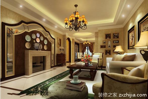 欧式风格客厅铺地板的效果图