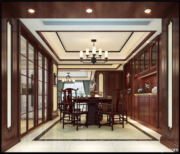 灯具也采用了玻璃以及铁制品吊顶,墙上挂上一两副中国画加强中式风格