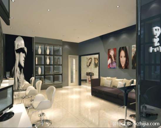 欧式风格的理发店通常多选用欧式特性元素,欧式线条,墙面多选用墙纸.