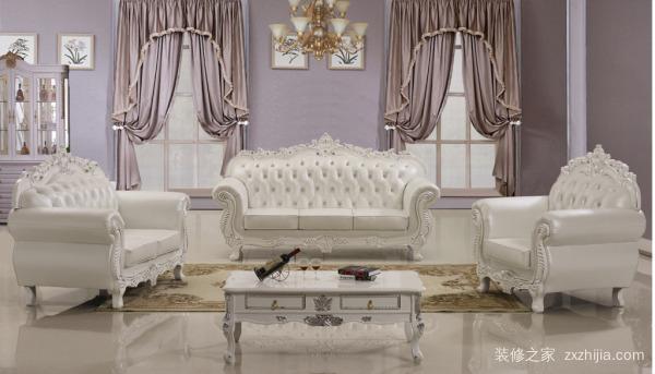 1,百佳惠欧式沙发组合简约白色头层真皮实木沙发珍珠白客厅3007